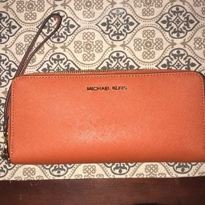 Michael Kors orange continental wallet